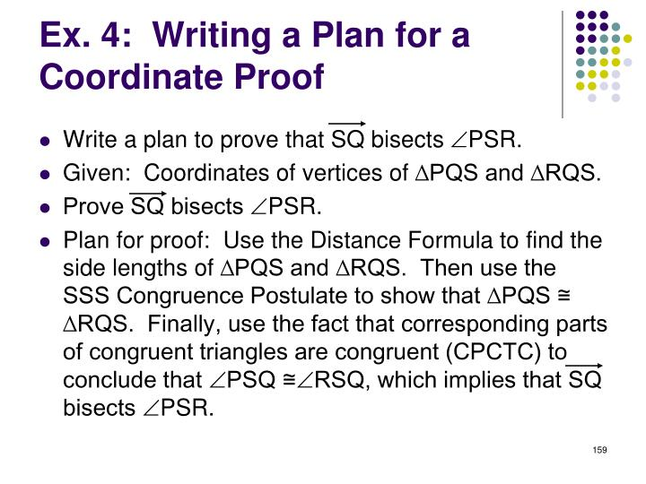 Ex. 4:  Writing a Plan for a Coordinate Proof