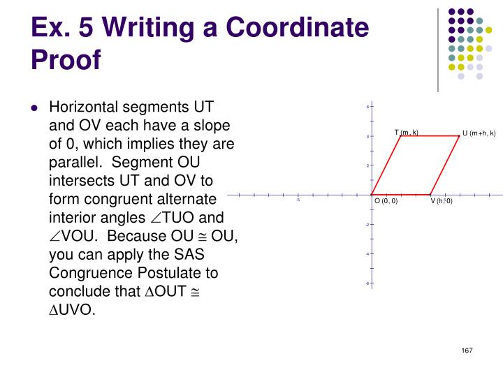 Horizontal segments UT and OV each have a slope of 0, which implies they are parallel.  Segment OU intersects UT and OV to form congruent alternate interior angles