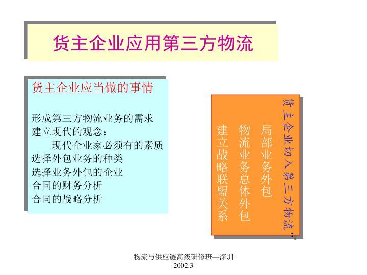 货主企业应用第三方物流