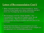 letters of recommendation cont d