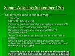 senior advising september 17th