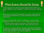 what seniors should be doing