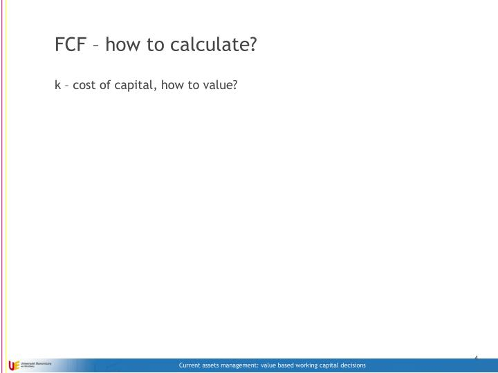 FCF – how to calculate?