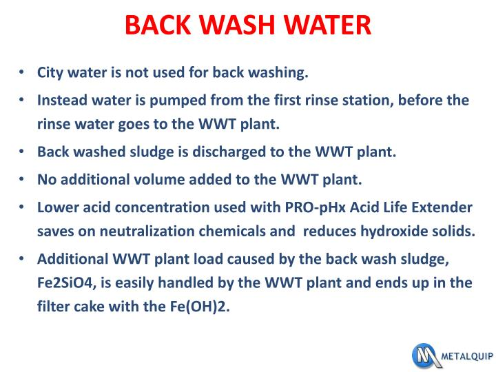 BACK WASH WATER