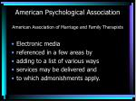 american psychological association american association of marriage and family therapists