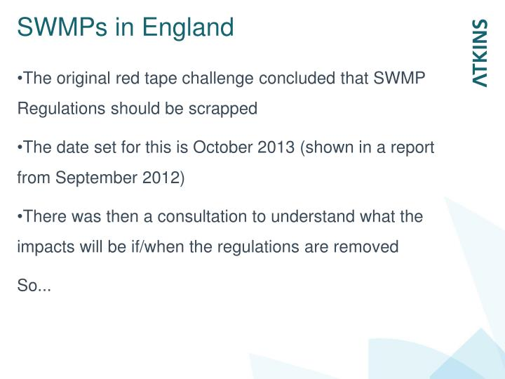 SWMPs in England