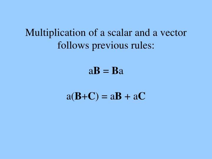Multiplication of a scalar and a vector follows previous rules: