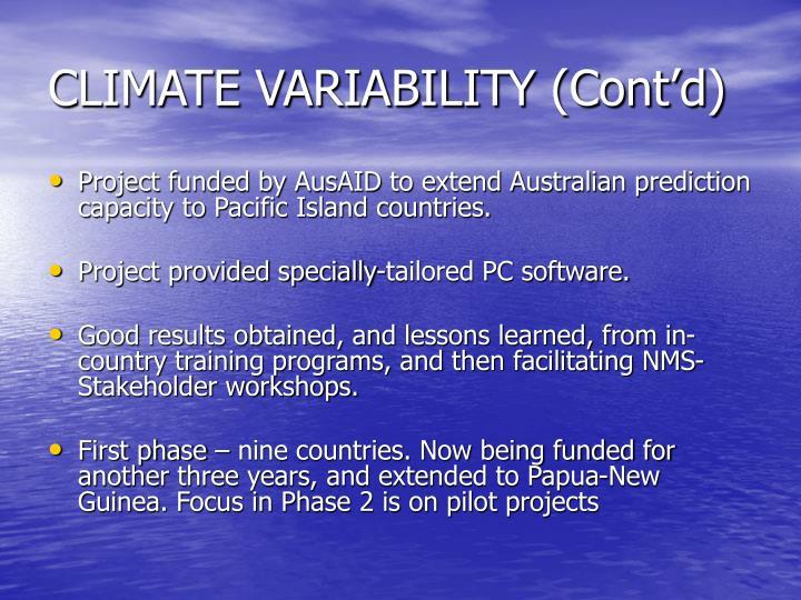 CLIMATE VARIABILITY (Cont'd)