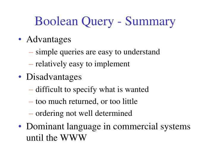 Boolean Query - Summary