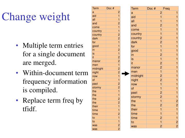 Change weight