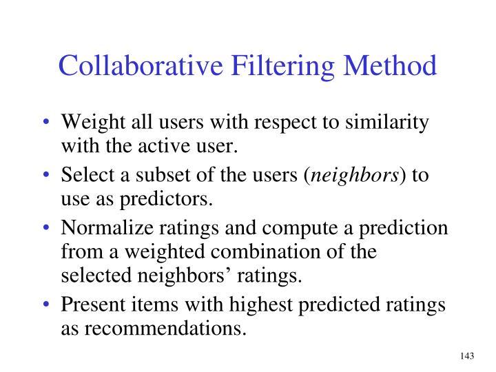 Collaborative Filtering Method