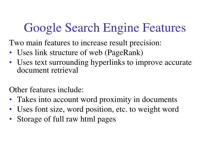 Google Search Engine Features