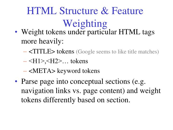 HTML Structure & Feature Weighting