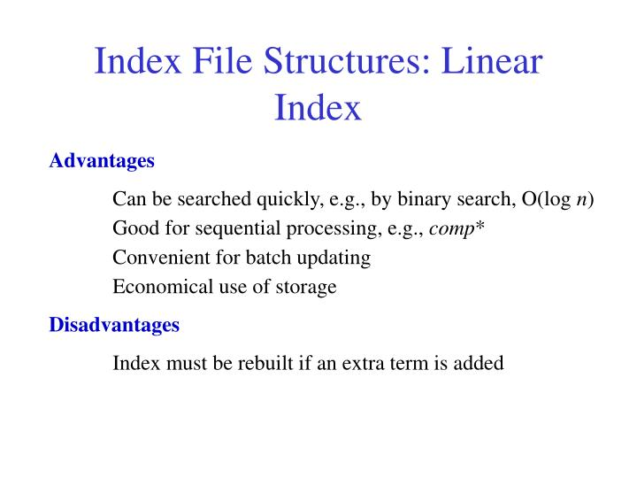 Index File Structures: Linear Index