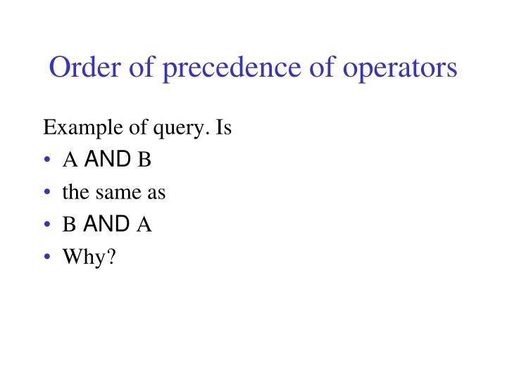 Order of precedence of operators