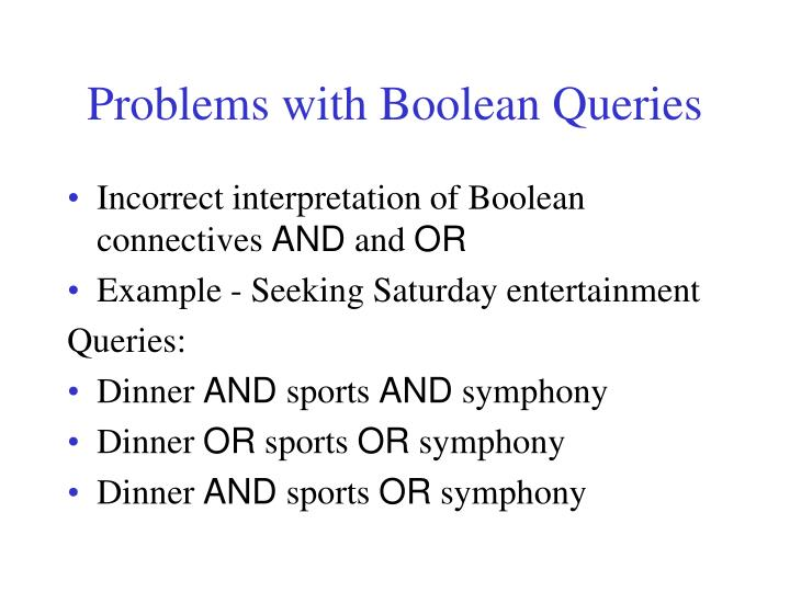 Problems with Boolean Queries