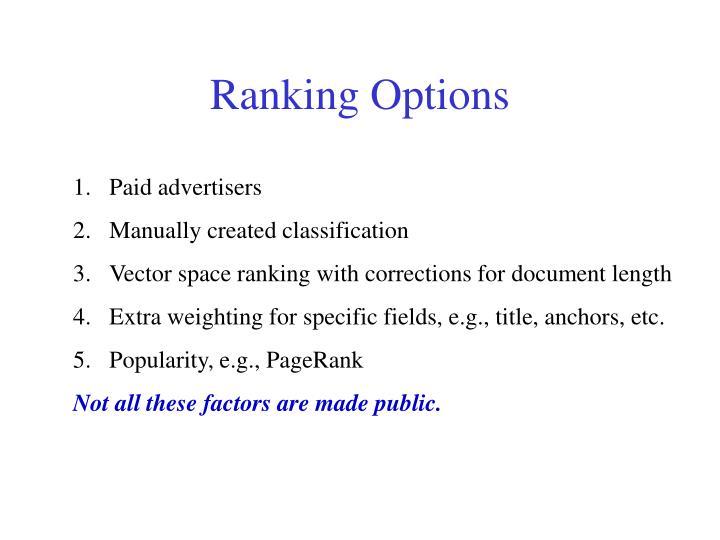 Ranking Options