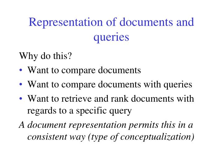 Representation of documents and queries