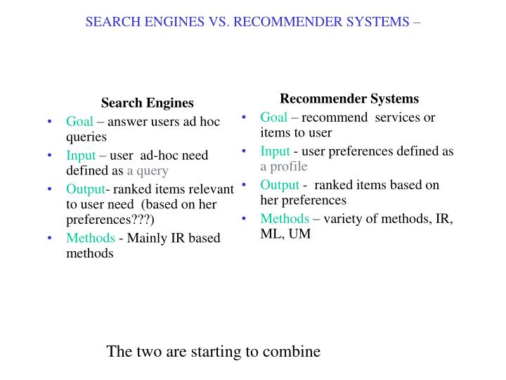 SEARCH ENGINES VS. RECOMMENDER SYSTEMS –