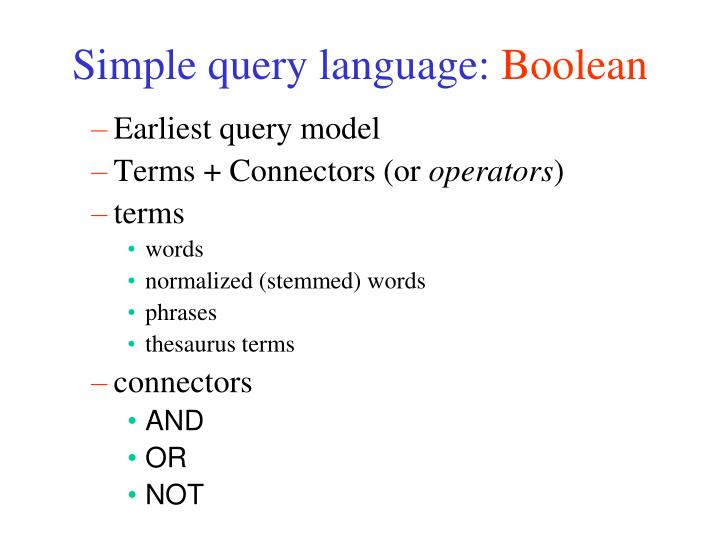 Simple query language: