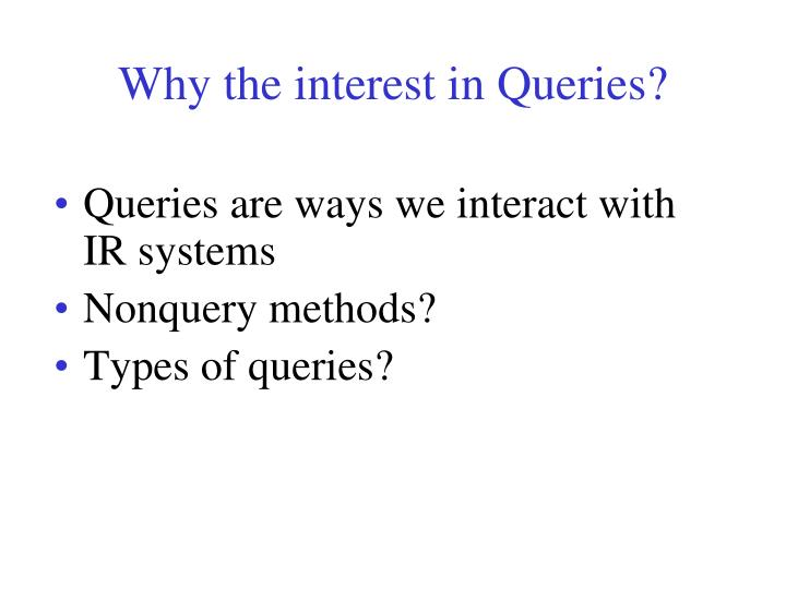 Why the interest in Queries?