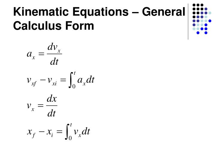 Kinematic Equations – General Calculus Form