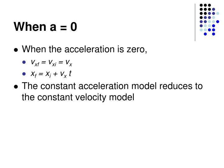 When a = 0