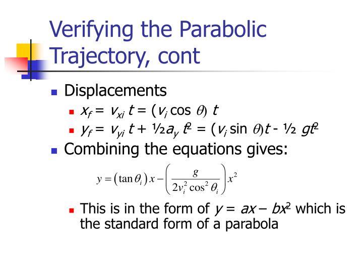 Verifying the Parabolic Trajectory, cont