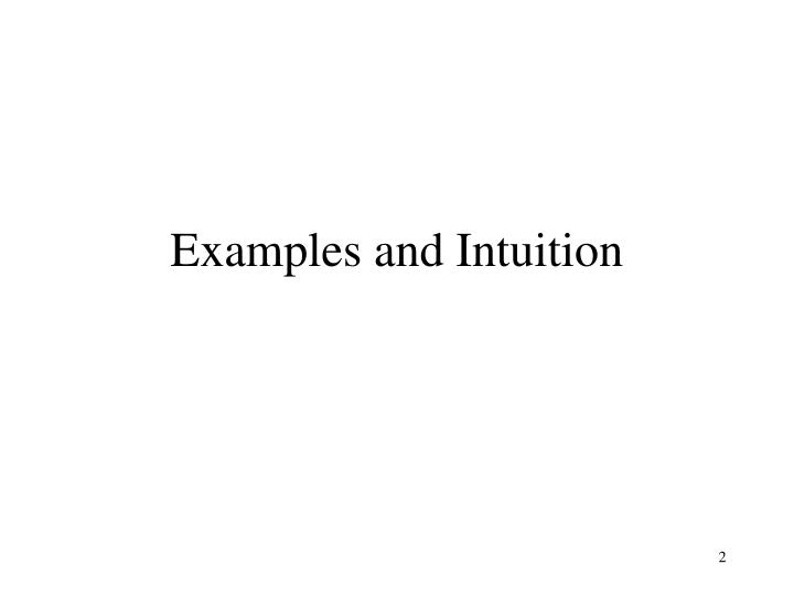 Examples and intuition