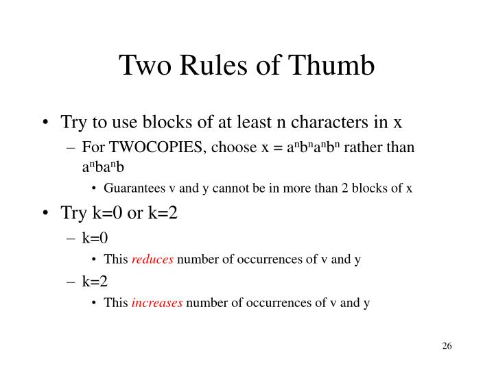 Two Rules of Thumb