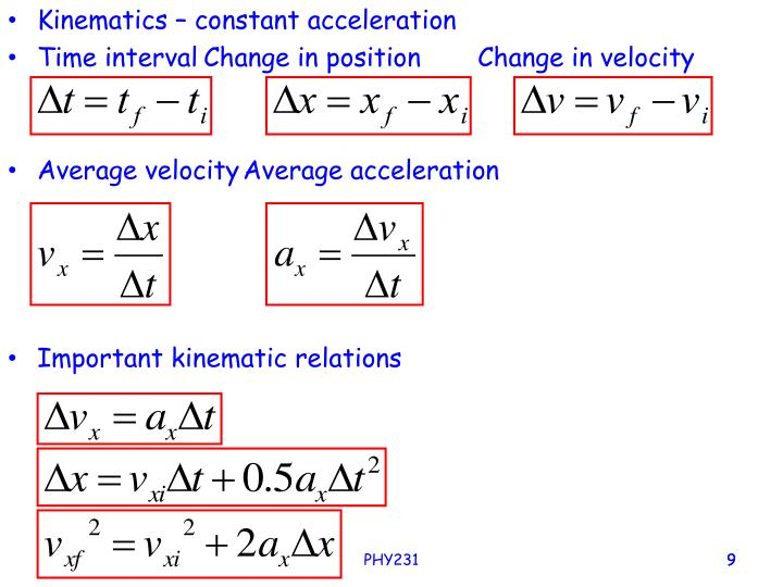 Kinematics – constant acceleration