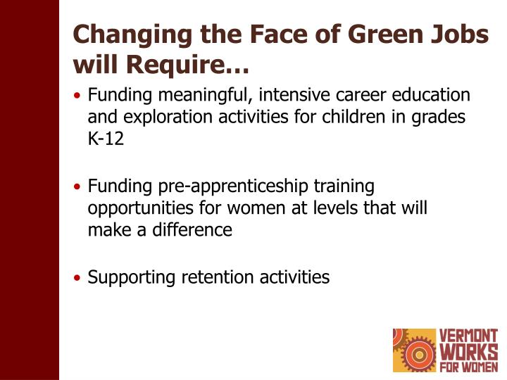 Changing the Face of Green Jobs will Require…