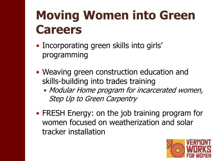 Moving women into green careers