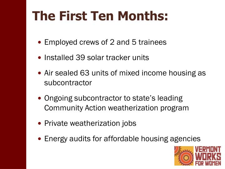 The First Ten Months: