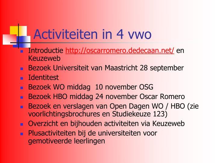 Activiteiten in 4 vwo