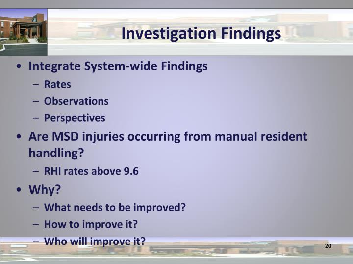 Investigation Findings