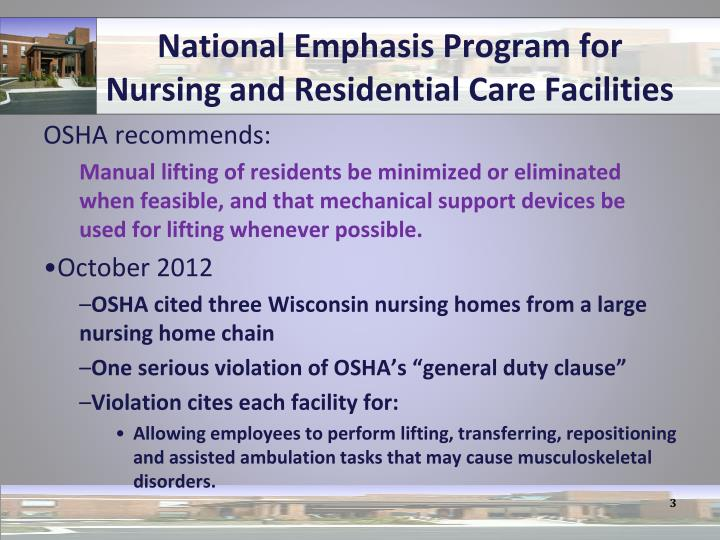 National emphasis program for nursing and residential care facilities1