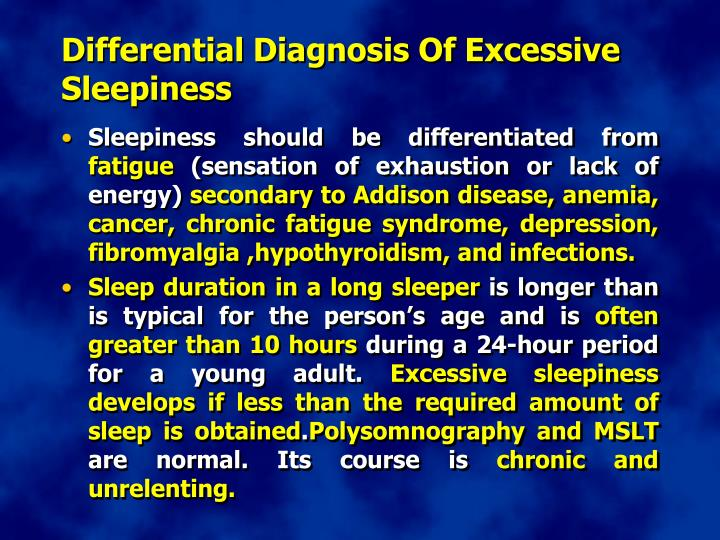 Differential Diagnosis Of Excessive Sleepiness