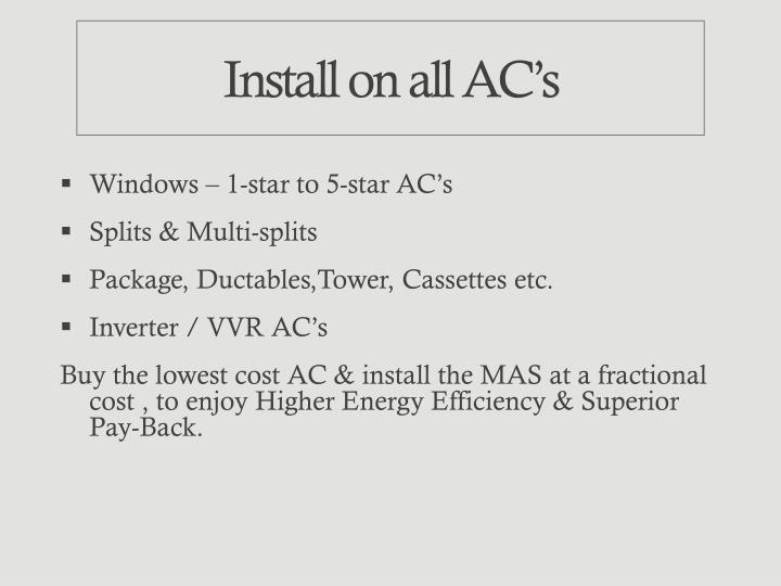 Install on all AC's
