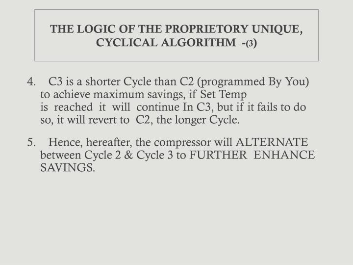 THE LOGIC OF THE PROPRIETORY UNIQUE, CYCLICAL ALGORITHM  -