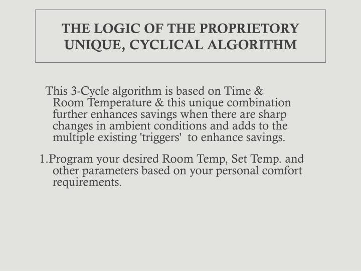 THE LOGIC OF THE PROPRIETORY UNIQUE, CYCLICAL ALGORITHM