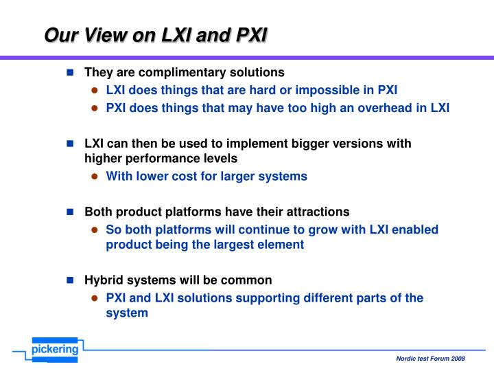 Our View on LXI and PXI