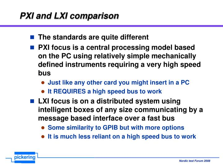 PXI and LXI comparison
