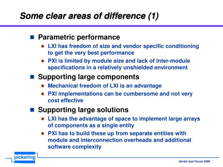 Some clear areas of difference (1)