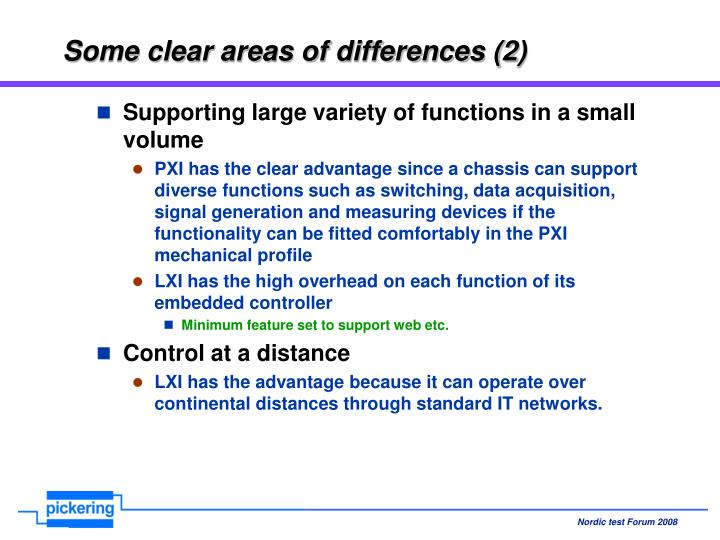 Some clear areas of differences (2)