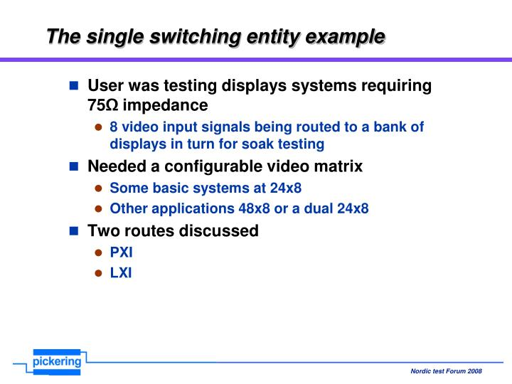 The single switching entity example