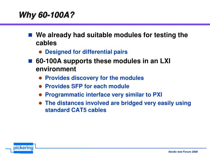 Why 60-100A?