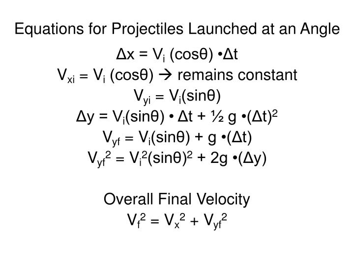 Equations for projectiles launched at an angle