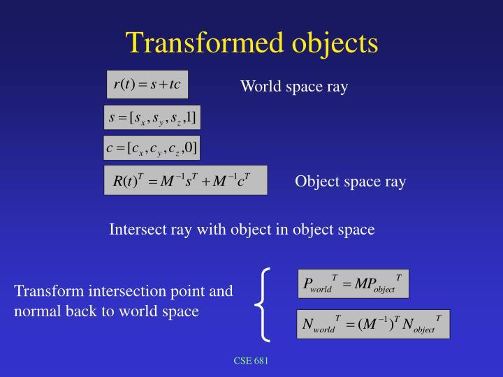 Transformed objects