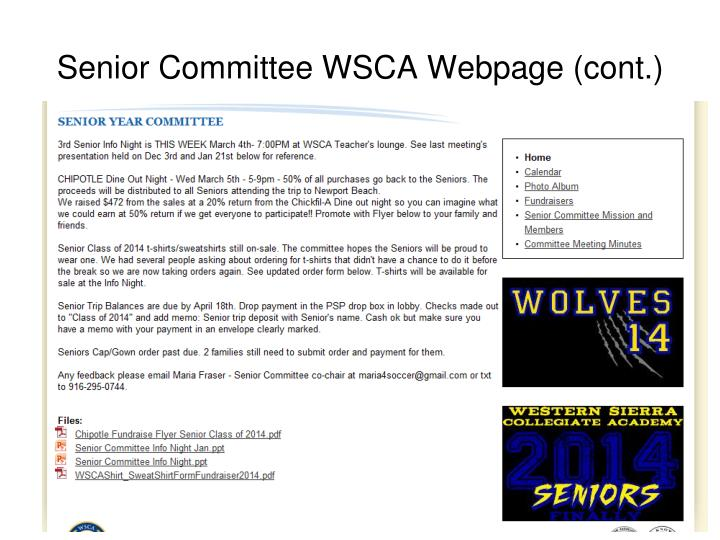 Senior Committee WSCA Webpage (cont.)